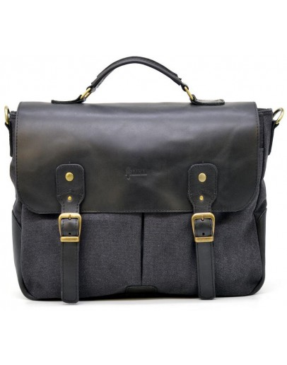 Фотография Черная мужская тканево-кожаная сумка Tarwa AG-3960-3md