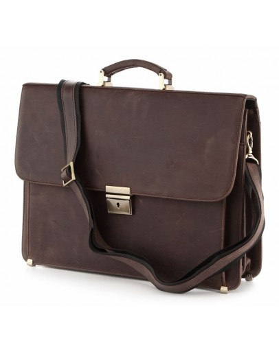 Фотография Портфель мужской кожаный коричневый винтажный SHVIGEL 00754