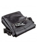 Фотография Черная кожаная мужская сумка через плечо SHVIGEL 00793