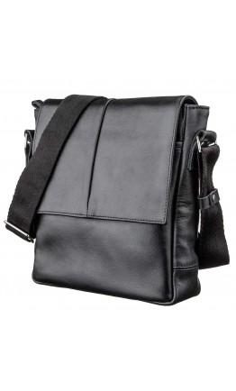 Черная кожаная мужская сумка через плечо SHVIGEL 00793