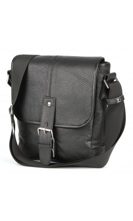 Черная мужская кожаная сумка через плечо SHVIGEL 00853