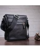 Фотография Черная мужская кожаная сумка через плечо SHVIGEL 00853