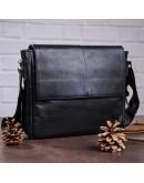 Фотография Черный кожаная мужская сумка на плечо SHVIGEL 00858