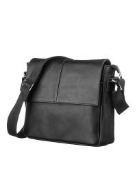 Черный кожаная мужская сумка на плечо SHVIGEL 00858