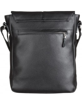 Черная кожаная вместительная сумка на плечо SHVIGEL 00860