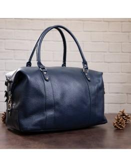 Синяя кожаная мужская сумка для командировок SHVIGEL 00888
