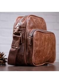 Мужская коричневая кожаная сумка на плечо SHVIGEL 00904
