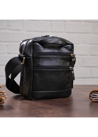 Черная мужская маленькая сумка на плечо SHVIGEL 00926