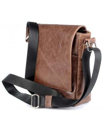 Фотография Коричневая мужская небольшая сумка на плечо SHVIGEL 00978