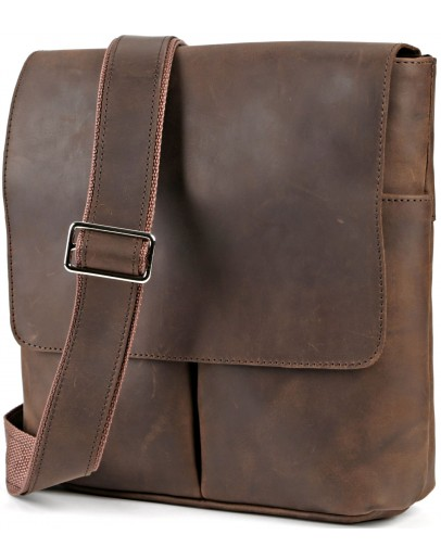 Фотография Мужская кожаная винтажная сумка на плечо SHVIGEL 00998