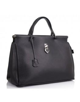 Черная вместительная женская кожаная сумка VIRGINIA CONTI 02479BLACK
