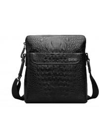 Эксклюзивная кожаная черная сумка на плечо 7031