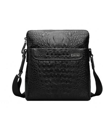 Фотография Эксклюзивная кожаная черная сумка на плечо 7031