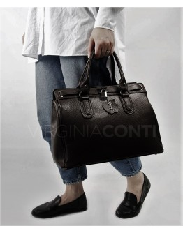 Кожаная вместительная женская сумка VIRGINIA CONTI 03176BLACK