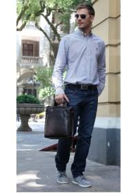 Черная вертикальная мужская сумка из натуральной кожи 7042