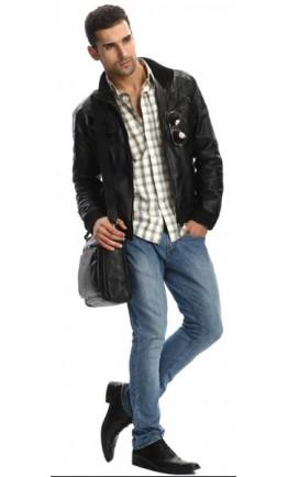 Стильный и модный черный портфель из кожи 7048