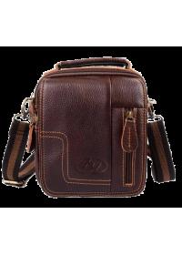 Маленькая кожаная коричневая сумка на плечо 70054