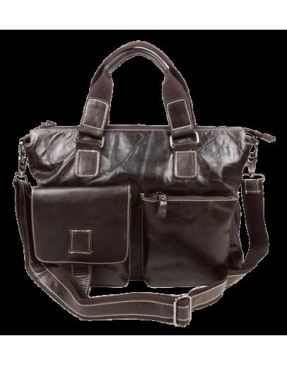 Фотография Удобная коричневая мужская сумка - портфель из кожи 7057