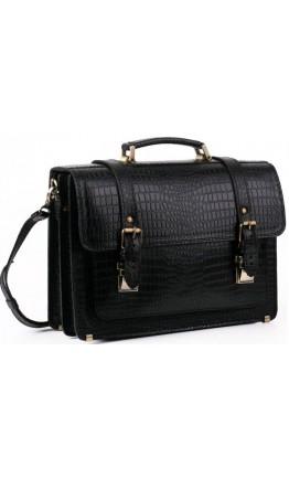 Черный мужской портфель кожаный с тиснением Manufatto 1-sps black croco