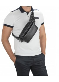 Черная мужская сумка на пояс - бананка Tiding Bag 1001A