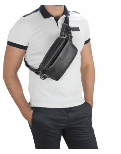 Фотография Черная мужская сумка на пояс - бананка Tiding Bag 1001A
