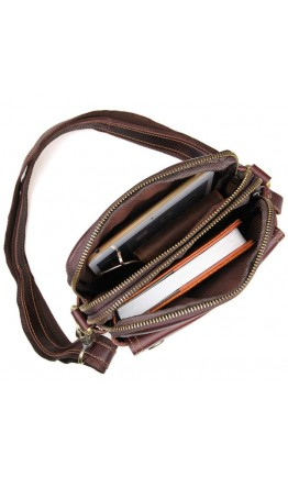 Бордово коричневая кожаная мужская сумка 71002X