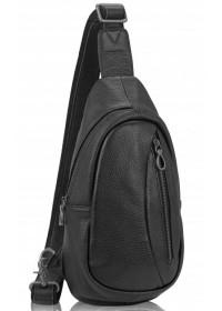Черный кожаный мужской рюкзак - слинг Tiding Bag 10030A