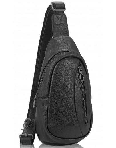 Фотография Черный кожаный мужской рюкзак - слинг Tiding Bag 10030A