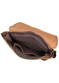Коричневая вместительная кожаная сумка плечевая 1009B