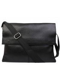 Большая сумка черного цвета на плечо из кожи 7102bl
