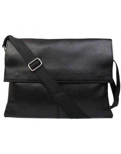 Фотография Большая сумка черного цвета на плечо из кожи 7102bl
