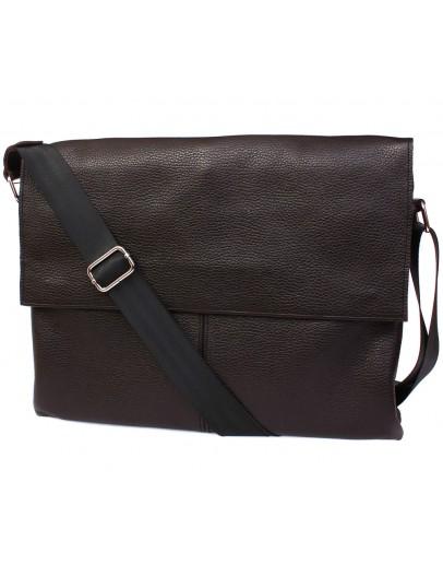 Фотография Большая сумка коричневого цвета на плечо из кожи 7102br