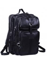 Большой кожаный черный мужской модный рюкзак 71034-1