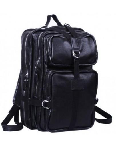 Фотография Большой кожаный черный мужской модный рюкзак 71034-1