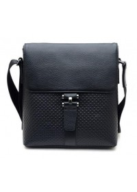 Кожаная стильная сумка черного цвета на плечо 71034