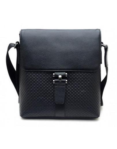 Фотография Кожаная стильная сумка черного цвета на плечо 71034
