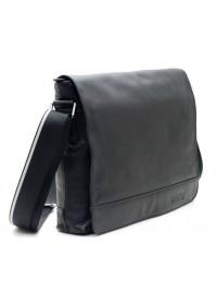 Вместительная черная мужская кожаная сумка на плечо 71036