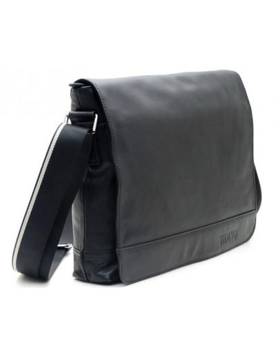 Фотография Вместительная черная мужская кожаная сумка на плечо 71036