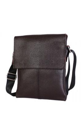 Удобная кожаная сумка на каждый день 7106 коричневая