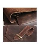 Фотография Кожаный мужской мессенджер коричневого цвета 71065