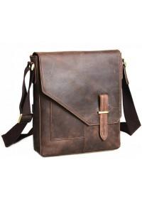 Кожаный мужской мессенджер коричневого цвета 71065