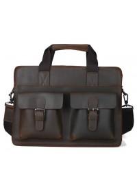 Темно-коричневый мужской портфель с двумя лицевыми карманами 71080