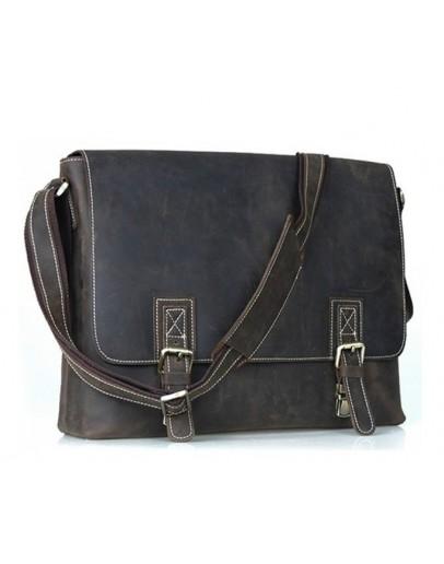 Фотография Большая мужская коричневая сумка на плечо 71093