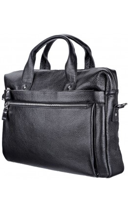 Кожаная черная мужска сумка для ноутбука SHVIGEL 11000