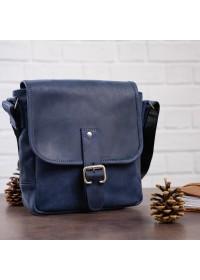 Синяя кожаная плечевая сумка SHVIGEL 11015