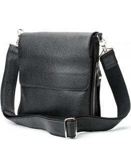 Черная мужская кожаная сумка на плечо SHVIGEL 11016