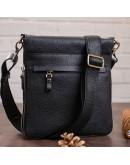 Фотография Черная мужская кожаная сумка на плечо SHVIGEL 11016