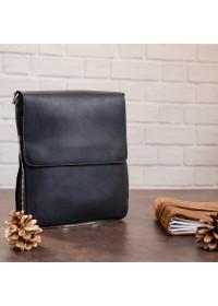 Сумка черная винтажная кожаная на плечо SHVIGEL 11017