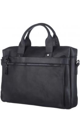 Черная деловая сумка из винтажной кожи SHVIGEL 11035
