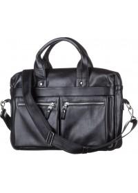 Черная мужская кожаная сумкка деловая SHVIGEL 11041